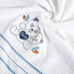 Ręcznik dziecięcy kąpielowy misie biały niebieski 70x140 - 70x140 - biały / niebieski 1