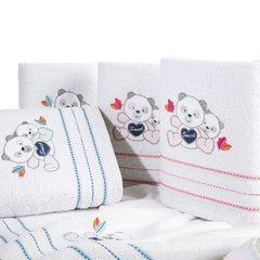 Ręcznik dziecięcy kąpielowy misie biały niebieski 70x140 - 70x140 - biały / niebieski 3