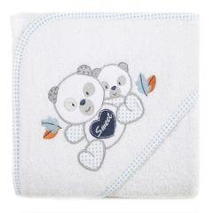 Ręcznik dziecięcy kąpielowy z kapturem misie biały niebieski 75x75 - 75 X 75 cm - biały 1