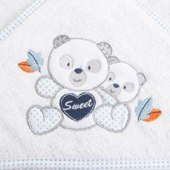 Ręcznik dziecięcy kąpielowy z kapturem misie biały niebieski 75x75 - 75 X 75 cm - biały 6