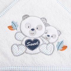 Ręcznik dziecięcy kąpielowy z kapturem misie biały niebieski 75x75 - 75 X 75 cm - biały 7