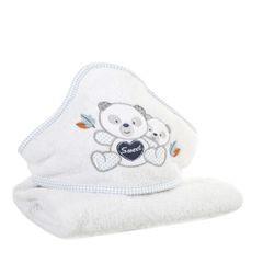Ręcznik dziecięcy kąpielowy z kapturem misie biały niebieski 75x75 - 75 X 75 cm - biały 3