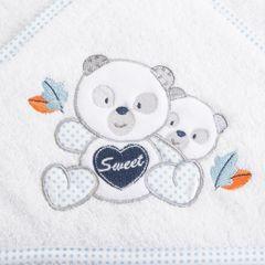 Ręcznik dziecięcy kąpielowy z kapturem misie biały niebieski 75x75 - 75 X 75 cm - biały 2