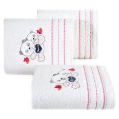 Ręcznik dziecięcy kąpielowy misie biały różowy 50x90 - 50 X 90 cm - biały 1