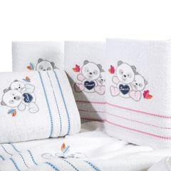 Ręcznik dziecięcy kąpielowy misie biały różowy 50x90 - 50 X 90 cm - biały 3