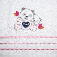Ręcznik dziecięcy kąpielowy misie biały różowy 70x140 - 70 X 140 cm - biały 8