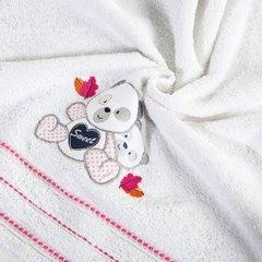 Ręcznik dziecięcy kąpielowy misie biały różowy 70x140 - 70 X 140 cm - biały 5