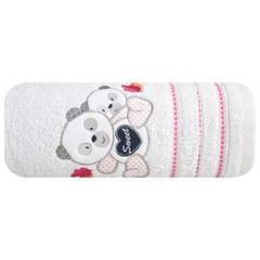 Ręcznik dziecięcy kąpielowy misie biały różowy 70x140 - 70 X 140 cm - biały 2