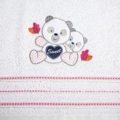 Ręcznik dziecięcy kąpielowy misie biały różowy 70x140 - 70 X 140 cm - biały 4