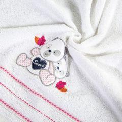 Ręcznik dziecięcy kąpielowy misie biały różowy 70x140 - 70 X 140 cm - biały 1