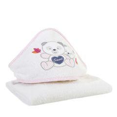 Ręcznik dziecięcy kąpielowy z kapturem misie 75x75  - 75 X 75 cm - biały 3