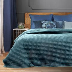Welwetowa NARZUTA pikowana niebieska 170x210cm - 170x210 - Niebieski 4