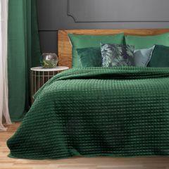 Welwetowa NARZUTA pikowana ciemno zielona 170x210 cm - 170x210 - Zielony 4