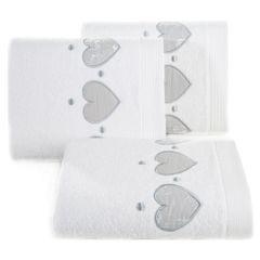 Miękki chłonny ręcznik kąpielowy biały z serduszkami 50x90 - 50 X 90 cm - biały 1