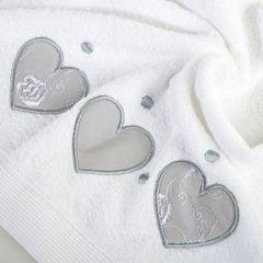 Miękki chłonny ręcznik kąpielowy biały z serduszkami 50x90 - 50 X 90 cm - biały 5