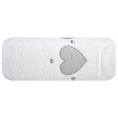 Miękki chłonny ręcznik kąpielowy biały z serduszkami 70x140 - 70 X 140 cm - biały 2