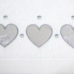 Miękki chłonny ręcznik kąpielowy biały z serduszkami 70x140 - 70 X 140 cm - biały 4