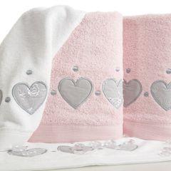 Miękki chłonny ręcznik kąpielowy pudrowy z serduszkami 50x90 - 50 X 90 cm - pudrowy 3