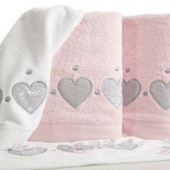 Miękki chłonny ręcznik kąpielowy pudrowy z serduszkami 50x90 - 50 X 90 cm - pudrowy 6
