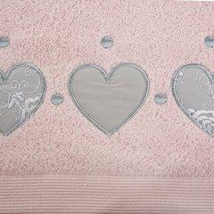 Miękki chłonny ręcznik kąpielowy pudrowy z serduszkami 70x140 - 70 X 140 cm - pudrowy 3