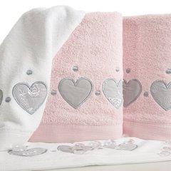 Miękki chłonny ręcznik kąpielowy pudrowy z serduszkami 70x140 - 70 X 140 cm - pudrowy 5