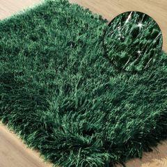 CELIA ZIELONA DYWAN ŁAZIENKOWY SHAGGY ZE SREBRNĄ NICĄ 60x90 cm - 60 X 90 cm - ciemno zielony 1