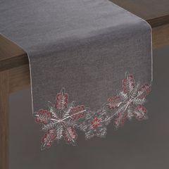Haftowany obrus w śnieżynki stalowy 40x140 cm - 40 X 140 cm - stalowy 2