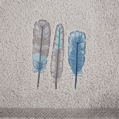 Haftowany ręcznik kąpielowy z motywem piór srebrny 50x90 cm - 50 X 90 cm - srebrny 7