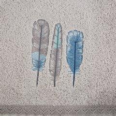 Haftowany RĘCZNIK KĄPIELOWY z motywem piór SREBRNY 50x90 cm - 50x90 - srebrny, szary, niebieski 5