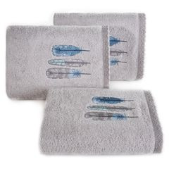 Haftowany ręcznik kąpielowy z motywem piór srebrny 70x140 cm - 70 X 140 cm - srebrny 1