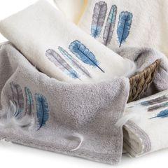 Haftowany ręcznik kąpielowy z motywem piór srebrny 70x140 cm - 70 X 140 cm - srebrny 3