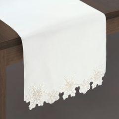 Biały haftowany bieżnik z płatkami śniegu 40x140 cm - 40 X 140 cm - biały 2