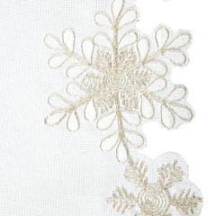Biały haftowany bieżnik z płatkami śniegu 40x140 cm - 40 X 140 cm - biały 3