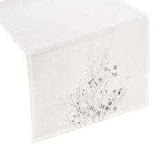 Haftowany bieżnik z perełkami naturalny 40x140 cm - 40 X 140 cm - biały/srebrny 1
