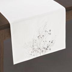 Haftowany bieżnik z perełkami naturalny 40x140 cm - 40 X 140 cm - biały/srebrny 2