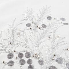 Haftowany bieżnik z perełkami naturalny 40x140 cm - 40 X 140 cm - biały/srebrny 3