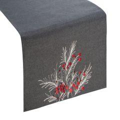 Haftowany bieżnik z perełkami stalowy 40x140 cm - 40 X 140 cm - ciemnoszary/czerwony 1
