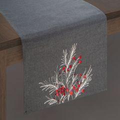Haftowany bieżnik z perełkami stalowy 40x140 cm - 40 X 140 cm - ciemnoszary/czerwony 2