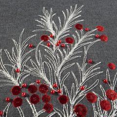 Haftowany bieżnik z perełkami stalowy 40x140 cm - 40 X 140 cm - ciemnoszary/czerwony 3