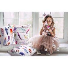 Poszewka w modnym stylu boho pióra 45x45 cm - 45 X 45 cm - kremowy/różowy/fioletowy 3