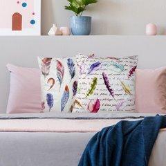 Poszewka w modnym stylu boho pióra 45x45 cm - 45 X 45 cm - kremowy/różowy/fioletowy 4