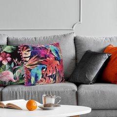 Poszewka modny wzór we flamingi z pomponikami 45x45 cm - 45x45 - Czarny / Różowy 3
