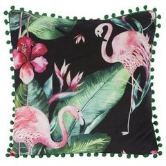 Poszewka modny wzór we flamingi z pomponikami 45x45 cm - 45 X 45 cm - czarny/różowy 1