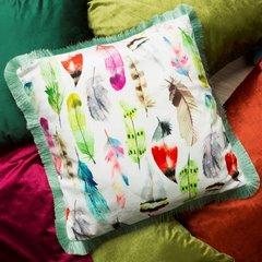 Poszewka w kolorowe pióra z pastelowymi frędzelkami 45x45 cm - 45 X 45 cm - mix kolorów 6