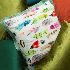 Poszewka w kolorowe pióra z pastelowymi frędzelkami 45x45 cm - 45 X 45 cm - mix kolorów 7