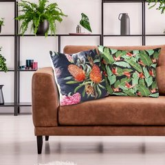 Poszewka z energetyzującym motywem egzotycznym 45x45 cm - 45 X 45 cm - czarny/pomarańczowy/zielony 7