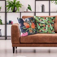Welwetowa poszewka z egzotycznym motywem flamingów 45x45 cm - 45 X 45 cm - czarny/różowy/fioletowy 3