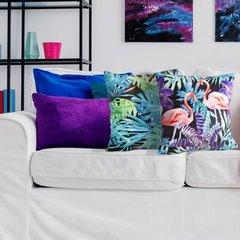 Welwetowa poszewka z egzotycznym motywem flamingów 45x45 cm - 45 X 45 cm - czarny/różowy/fioletowy 7