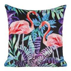 Welwetowa poszewka z egzotycznym motywem flamingów 45x45 cm - 45 X 45 cm - czarny/różowy/fioletowy 1