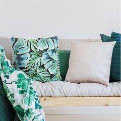 Poszewka z miękkiej tkaniny welwetowej z motywem roślinnym 45x45 cm - 45 X 45 cm - zielony/turkusowy/czarny 3